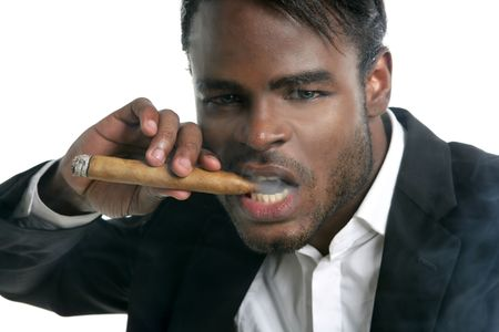 African american man smoking cigar portrait with black hat photo