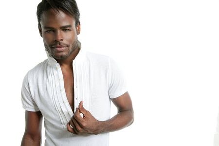 Handsomen black fashion african young man with wite shirt at studio Stock Photo - 5180638