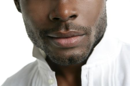 trendy male: African american cute black young man closeup portrait
