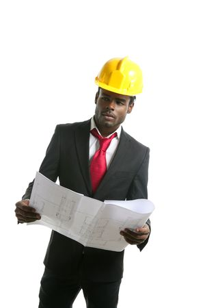 African american architect engineer with yellow hardhat and plans photo