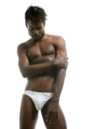 African american male model underwear at studio Stock Photo - 5180628