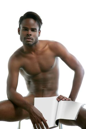 nude sex: African american black nude sex symbol narcissism metaphor with magazine