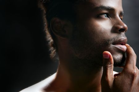 africanamerican: African american cute black young man closeup portrait