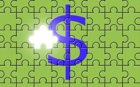 Dollar sign on a puzzle with missing piece, currency symbol photo