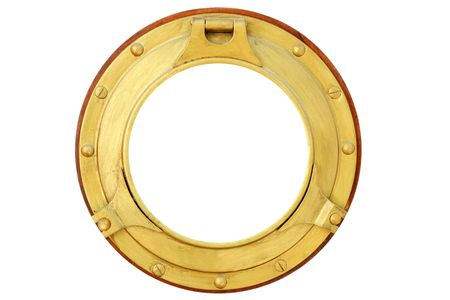 ship porthole: Round golden brass boat porthole window isolated on white Stock Photo