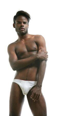 wit ondergoed: African American mannelijk model ondergoed in Studio