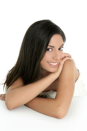 sexy asian woman: beautiful brunette indian woman beauty closeup portrait over white Stock Photo