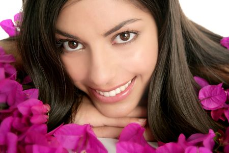 beautiful indian girl face: Beautiful indian woman portrait with boungainvilleas flowers over white Stock Photo