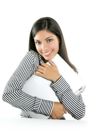 woman laptop happy: Brunette woman hug laptop computer, she love her work Stock Photo