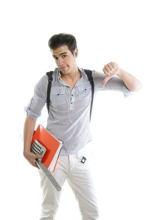 Caucasian student worried with negative gesture isolated on white Stock Photo - 5258137