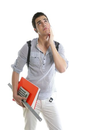 Caucasian student worried with negative gesture isolated on white Stock Photo - 5258208