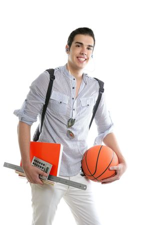 American look student boy with basket ball and notebook isolated on white Stock Photo - 5258239
