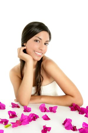 beautiful indian girl face: Beautiful indian woman portrait with bougainvilleas flowers over white
