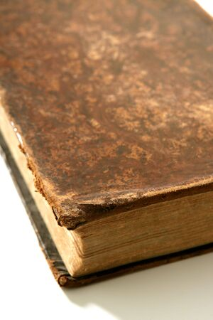 Ancient old aged brown book macro detail photo