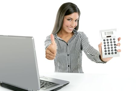 Calculator businesswoman happy for good stats results on white background photo