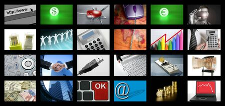 flat screen tv: Big Panel of TV screen showing business tech and internet communication Stock Photo