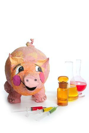 ah1n1: Beautiful little pink pig with medicine, swine AH1N1 flu metaphor