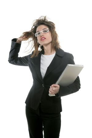 Beautiful businesswoman with white glasses and laptop computer at studio photo