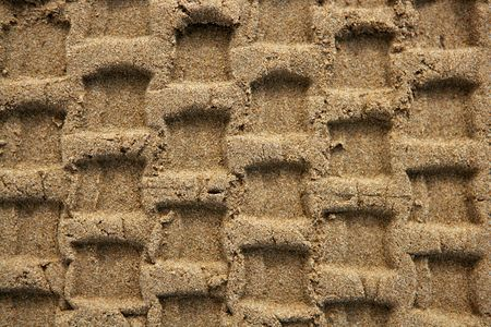 Beach sand texture with vehicle tires footprint background pattern Stock Photo - 5496667