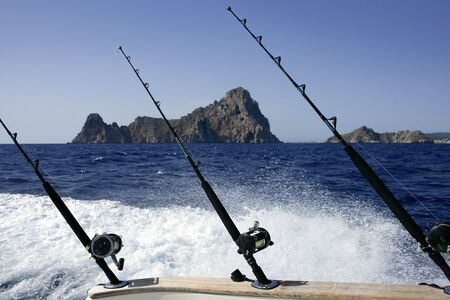 Big game fishing on boat in Mediterranean saltwater photo
