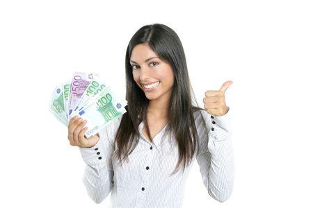 banconote euro: Successo Beautiful businesswoman holding banconote isolato su bianco Archivio Fotografico