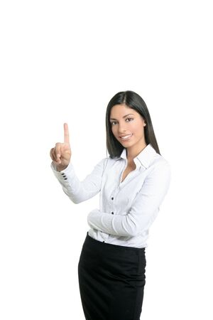 Brunette businesswoman touching virtual pad transparent key with finger Stock Photo - 5488063