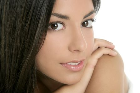 beautiful brunette indian woman beauty closeup portrait over white Stock Photo - 5544414