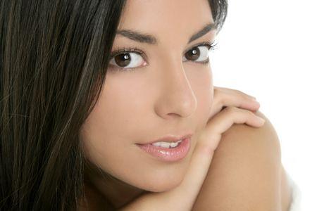 human head faces: beautiful brunette indian woman beauty closeup portrait over white Stock Photo