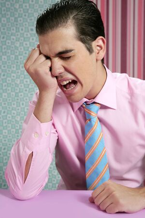 Businessman worried headache stressed and sad by work Stock Photo - 5544412