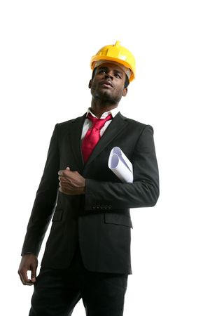 African american architect engineer with yellow hardhat and plans Stock Photo - 5594443