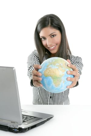 Brunette businesswoman with global map in her hands, communication metaphor Stock Photo - 5594428
