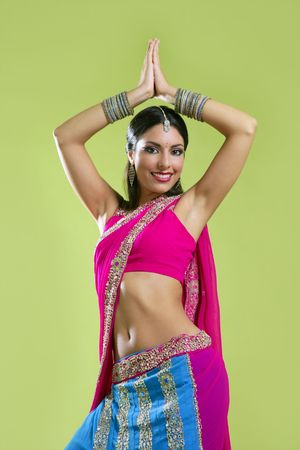 indian sexy: Brunette indian dancer princess Bollywood style, colorful sari