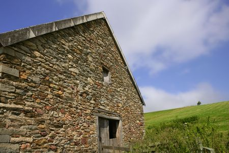 Masonry stone walls house in Navarra Pyrenees Spain photo