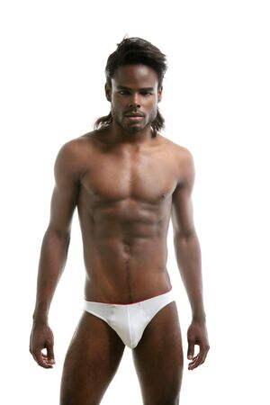 African american male model underwear at studio Stock Photo - 5675194