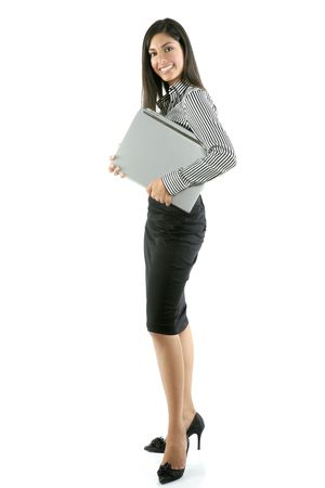 asian working woman: Beautiful full body woman portrait isolated on white Stock Photo