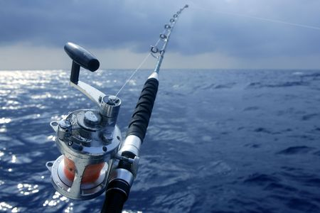 blue marlin: Big game obat fishing in deep sea on boat