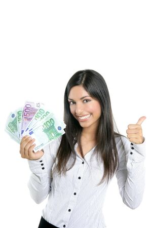 sucess: Beautiful sucess businesswoman holding Euro notes isolated on white
