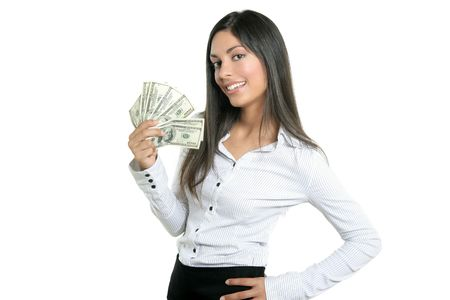 holding paper: Beautiful success businesswoman holding Dollar notes, isolated on white