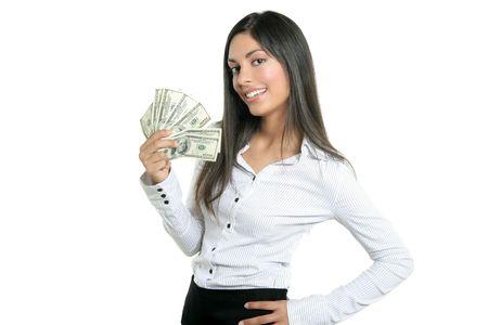 mano con dinero: De �xito Beautiful negocios la celebraci�n de los billetes de d�lar, aislado en blanco