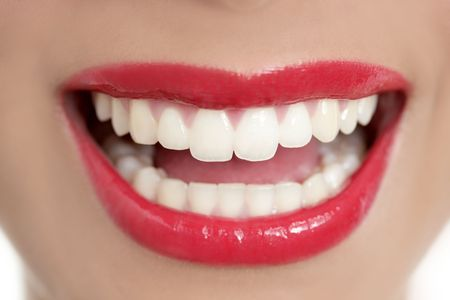 Beautiful woman perfect teeth smile with red lips Stock Photo - 5725163
