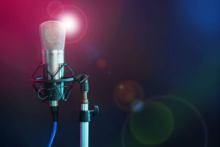 Microphone in the night colorful light in a recording studio Stock Photo - 5776869