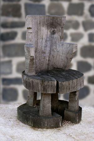 Anciennt rustic original handcraft gray wooden chair photo