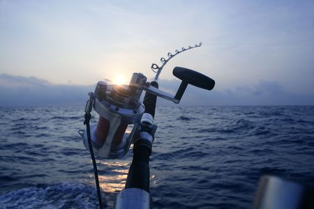 fishing tackle: Big game boat fishing in deep sea on boat