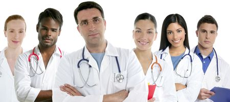 Doctors team group in a row on white background men and women doctor Stock Photo - 5772680