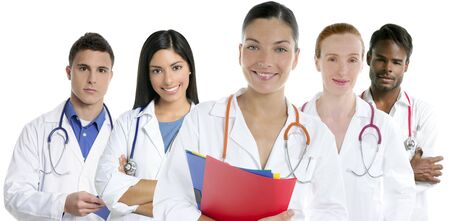 latin students: Doctors team group in a row on white background men and women doctor