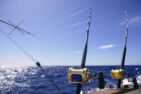 deep sea fishing: Big game boat fishing in deep sea on boat
