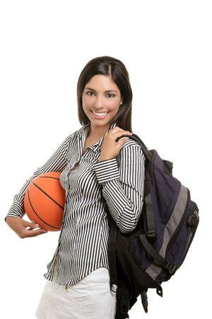 basketball girl: Estudiante atractiva mujer con una bolsa y una pelota de baloncesto en el fondo blanco