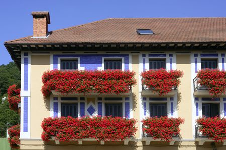 Beautiful colorful house in Navarra with red flowers on balcony photo
