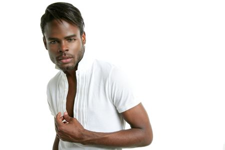 Handsomen black fashion african young man with wite shirt at studio photo