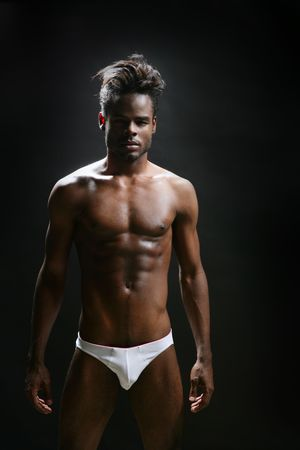 african american nude: African american male model underwear at studio